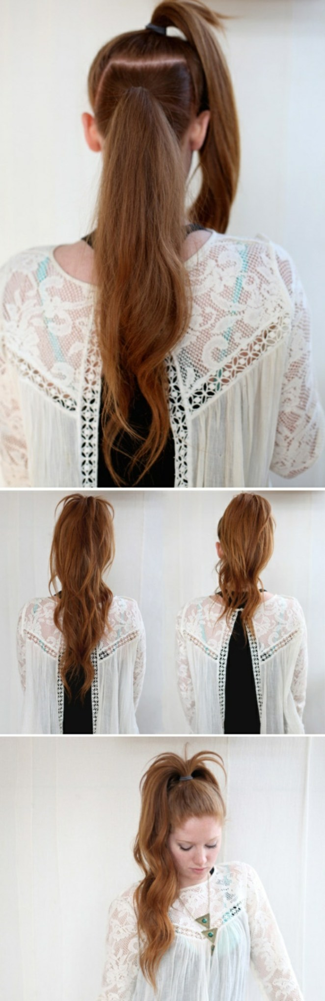 a girl with red hair, beautiful hairstyles for long hair, four photos of the hairstyle