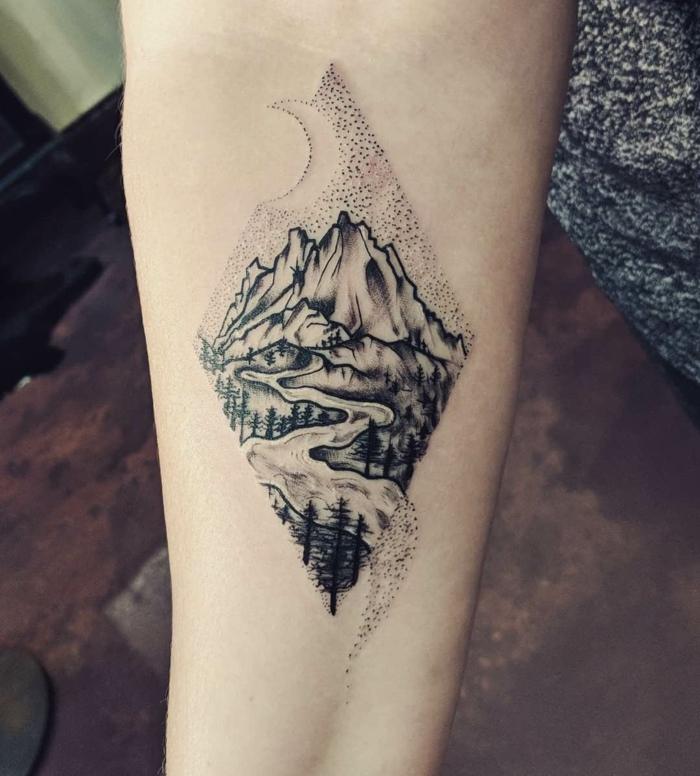 Buy vinyl sticker sunrise sun mountain lake river forest nature tattoo design mural decal wall art decor eh1200: 1001 Ideas For The Adventurous Mountain Range Tattoo