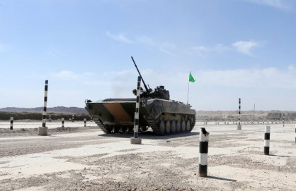 A Chinese Type-86A armored infantry fighting vehicle (IFV) is ready for a driving skills training exercise at a military training base in Korla of northwest China's Xinjiang Uygur Autonomous Region on July 20, 2017. It will participate in the upcoming Suvorov Attack event of the International Army Games (IAG) 2017. (eng.chinamil.com.cn/Photo by Luo Xingcang and Zhao Zhiguo)