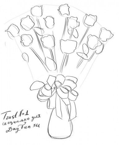 How to draw a bouquet of roses step by step 3