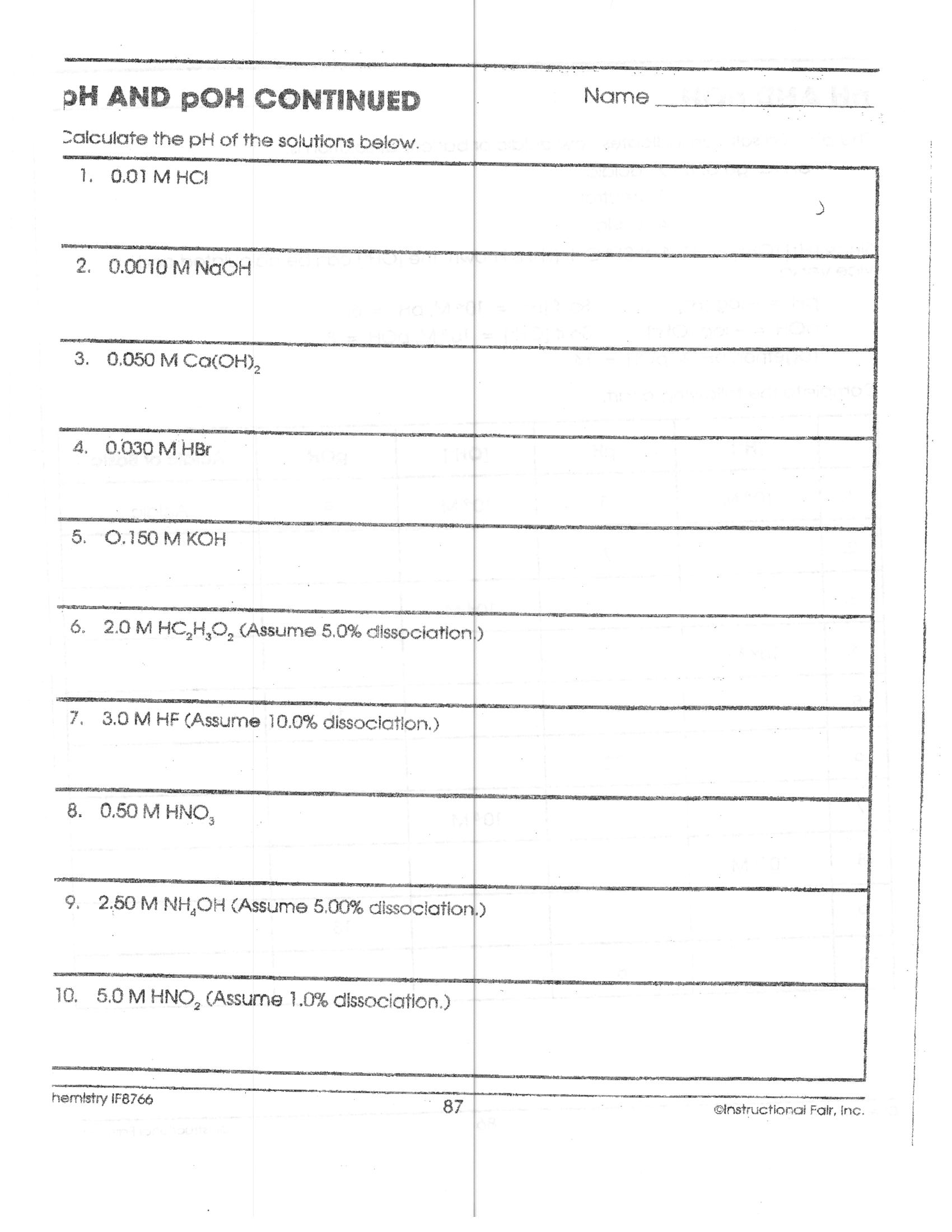 Acid Base Equilibrium Worksheet