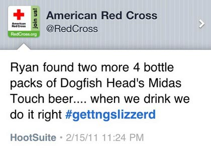 Red Cross drunk tweet