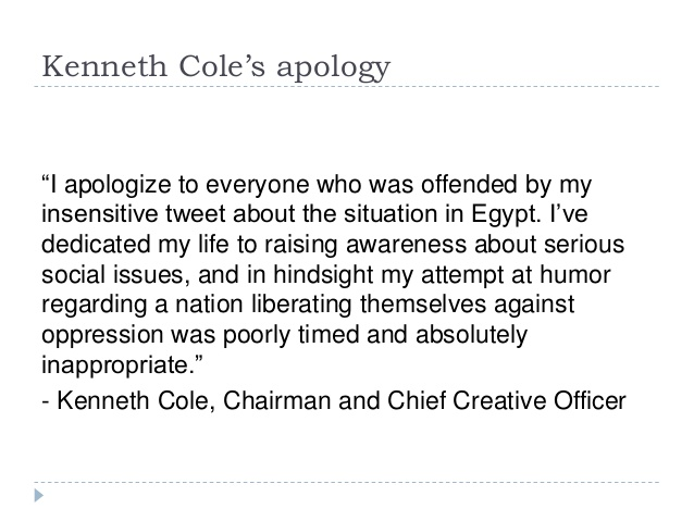 kenneth cole apology