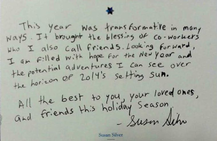 A Holiday Message from Susan Silver