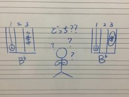 コードB♭の押さえ方はどちらが正しい??