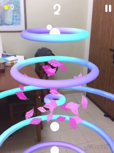Bird's feathers inside colorful rings in Augmented Reality