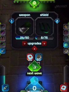 Weapon and armor upgrade screen