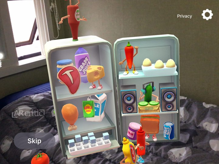Fridge party 3D animation in augmented reality
