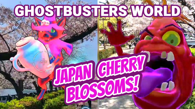 Ghostbusters world with cherry blossoms