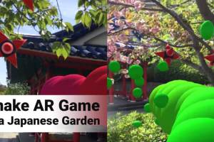 Playing Augmented Reality Snake Game in a Japanese Garden
