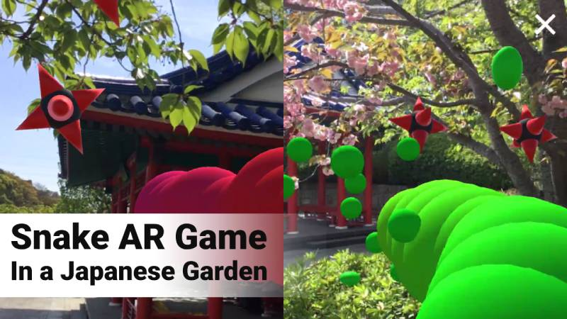 Snake AR game in Japanese garden