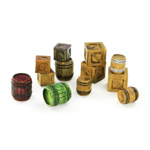 12 Pc Crates & Barrels Miniature Model Set 28mm