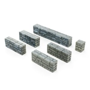 Half Height Stone Wall Miniature Models 28mm – 3 STL Files