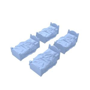 4 Pack Bed Miniature Model Set 28mm (Unmade Sheets)