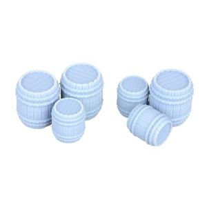 6 Pc Large & Small Barrels Miniature Model Set 28mm