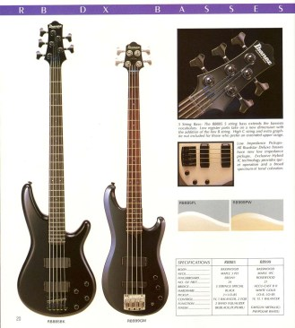 The Ibanez RB885 5-string as it was presented in the 1986 Ibanez Catalog.