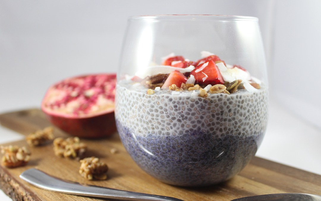 Two-layer wild blueberry chia seed pudding, made with Arctic Flavors 100% natural wild blueberry powder