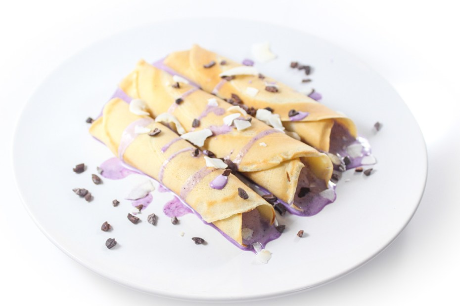 Crepes with wild blueberry ice cream filling, made with Arctic Flavors 100% natural wild blueberry powder