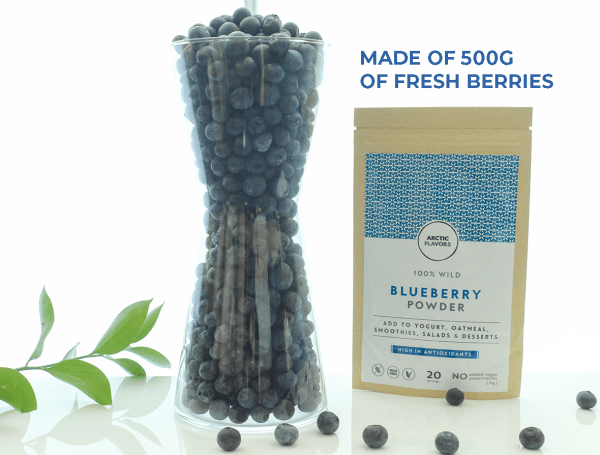 Arctic Flavors wild freeze-dried blueberry powder is made of 500g of fresh wild blueberries, also called bilberries. Arctic Superfood.