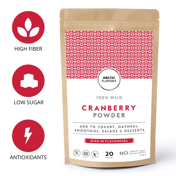 Arctic Flavors premium quality wild cranberry powder from the pure nature of Finland.