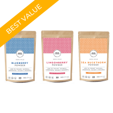 Arctic Flavors tricolore trio includes wild Arctic blueberry powder, sea buckthorn powder, and lingonberry powder