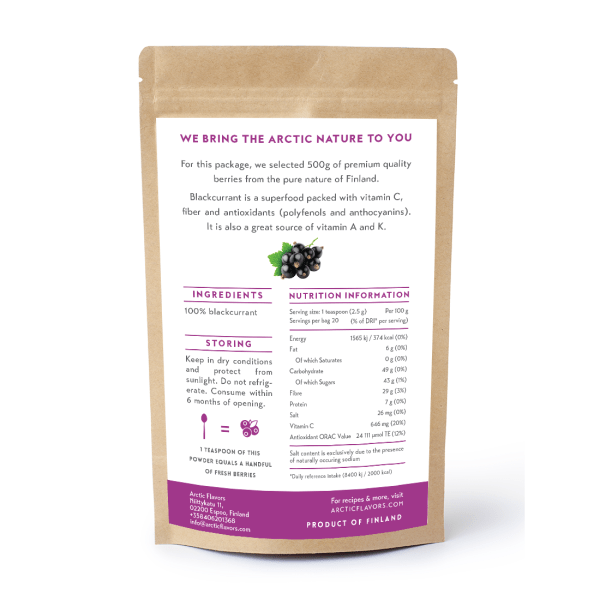 Arctic Flavors premium quality blackcurrant powder from the pure nature of Finland.