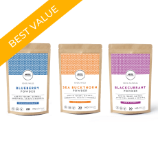 Arctic Flavors wild vitamins trio includes wild Arctic blueberry powder, sea buckthorn powder, and blackcurrant powder