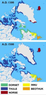 Migration map of ancient peoples in the arctic