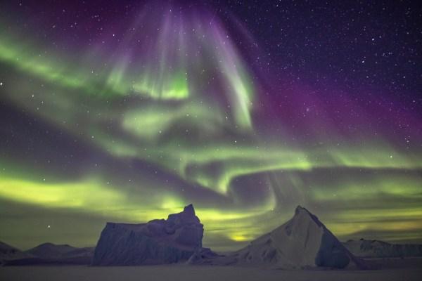 aurora borealis in the arctic spring