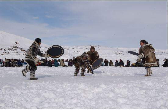 Inuit women celebrating Quviasukvik