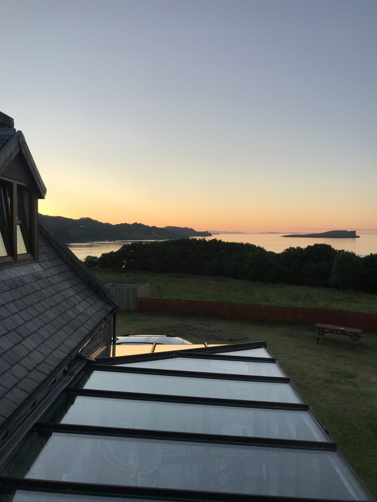The sun setting over the North Sea, view from the Old Inn in Staffin, Isle of Skye