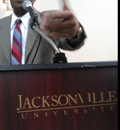 Ardain Isma speaks at Jacksonville University (JU)