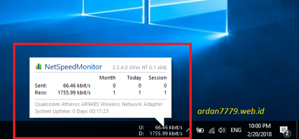 Mengetahui Kecepatan Internet Speed Monitor