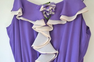 vintage purple and cream spaghetti strap ruffle dress