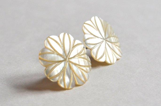 vintage mother of pearl engraved floral earrings