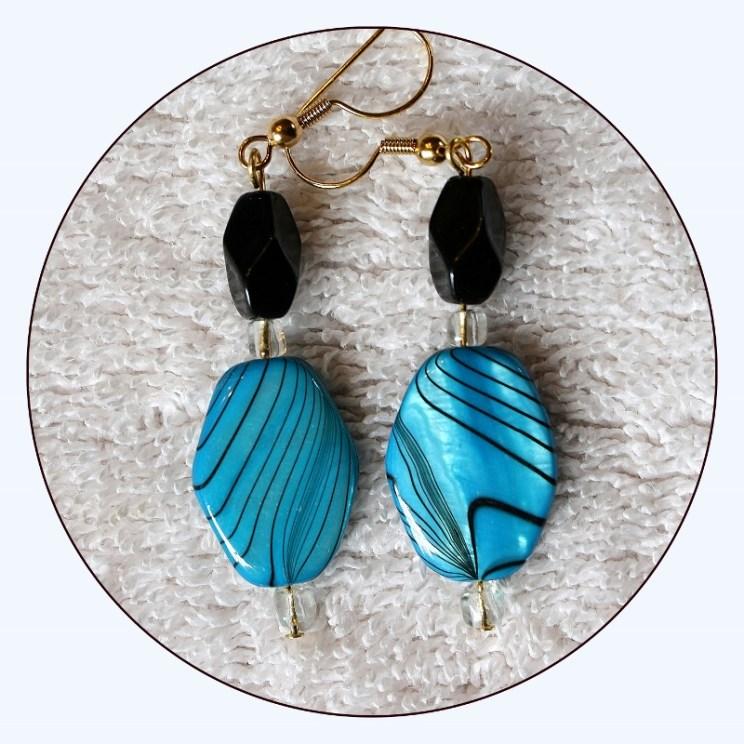 Blue Shell Earrings, paua abalone shell, turquoise blue, mother of pearl, long dangle earrings, beaded earrings, long earrings, Item #EBB316