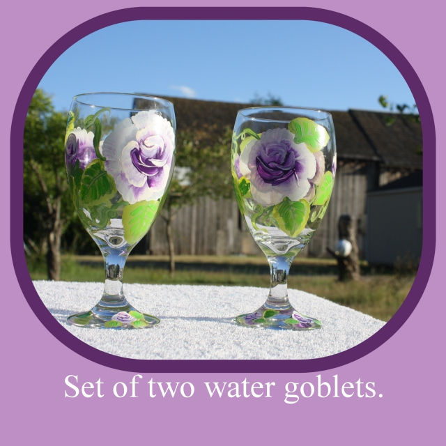 Hand Painted Glasses,Painted Water Goblet, Purple Roses,Light Purple,Dark Purple,Purple and White,glass painting,floral painting, Item #PWG3