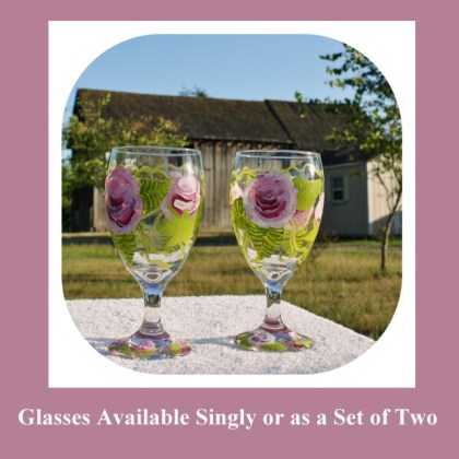 Hand Painted Glasses, Large Goblets, Large Water Goblet, hand painted glass, art glass,large wine glass,retro,hand painted wine, Item #WGb02 romantic gift, valentine's day, mother's day gift, gift for her, birthday gift