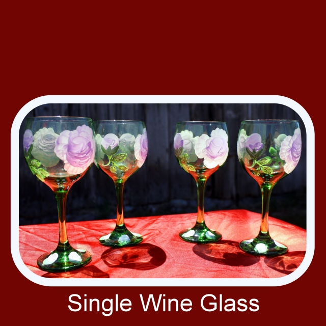 Single Glass,hand painted glasses,painted wine glasses,bohemian green glass,drinking glasses,floral drinkware,beverage glasses, Item #GWG-1 floral pattern, table decor, anniversary gift, wedding gift, stemware gift, unique gift,