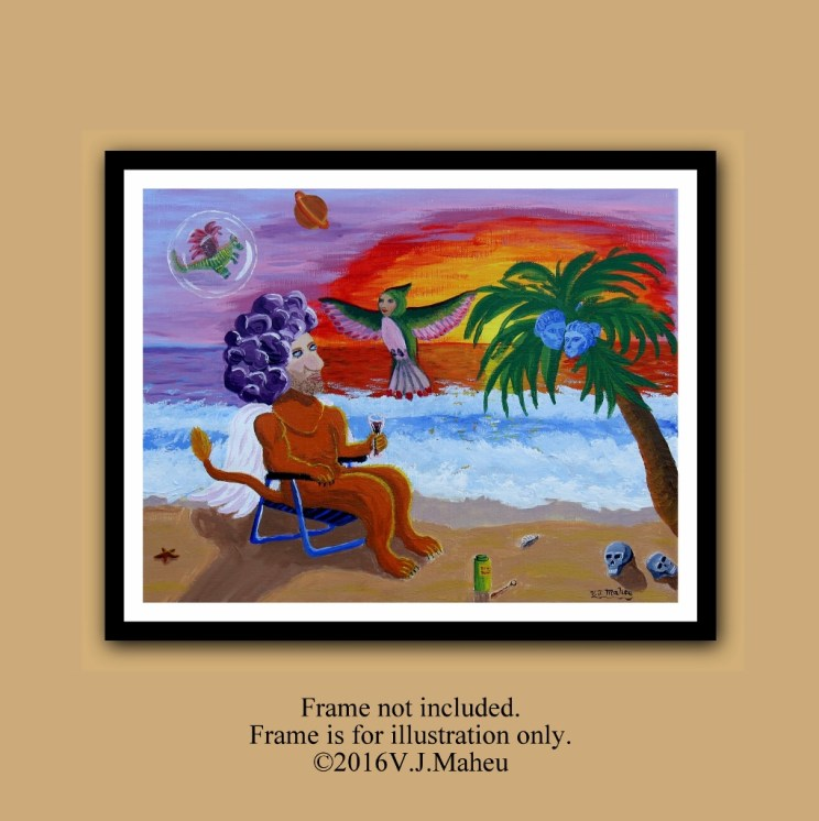 Surreal home decor, surreal wall art, surreal art, surreal decor, surreal painting, beach painting, trippy art, hippie decor, Item #SDCO-001