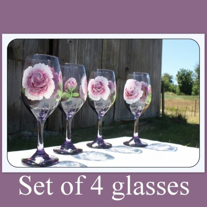 Set of four, Hand painted, purple wine glasses,rose wine glass, wine glass gift, Mother's Day gift, anniversary gift, weddings, Item # PWG-4 friend gift, BFF Gift, Bridesmaid gift, gift for mom, gift for her