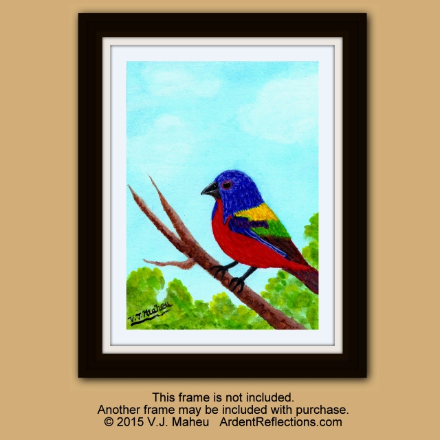 Songbird, Red blue yellow bird, Hand painted, original,watercolor songbird,colorful bird,songbird art,wild birds,painted bunting, Item #PBO1 framed original, frame included, wall art, bird wall art