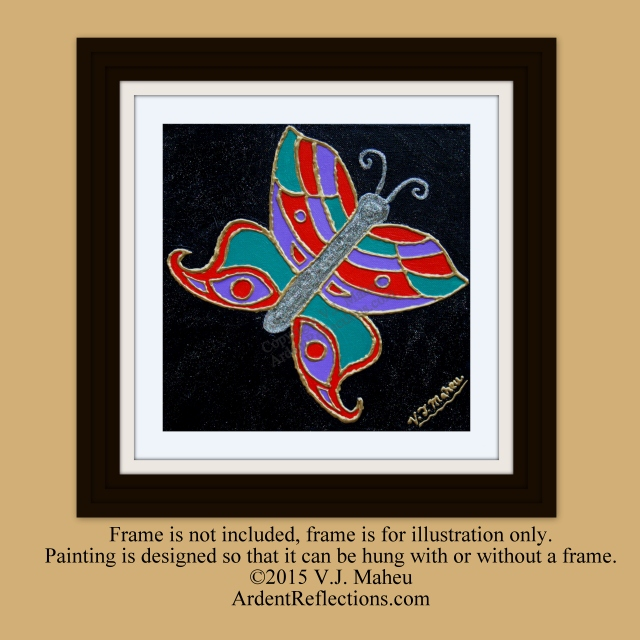 painting on canvas, butterfly on black, glitter background, textured butterfly, butterfly artwork, butterfly abastract,original, Item #BOBO1 turquoise red blue, glitter art, whimsical art, child's room, modern butterfly, butterfly wall art
