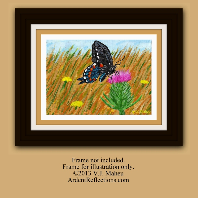 Butterfly thistle, child's room art, butterfly painting, nature decor,prairie,wildlife painting,wildlife wall art,wildflower art, Item #BTO1 prairie painting, butterfly art, nursery decor, small paintings, original paintings