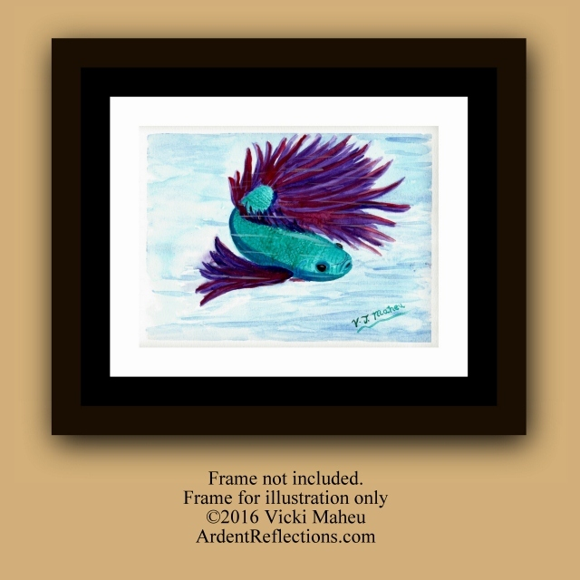 Betta fish painting, Betta fish watercolor, Siamese fighting fish, watercolor painting, original painting, turquoise blue, purple,Item #BFO1 Betta fish painting, watercolor painting, original painting, turquoise blue, purple, Siamese fighting, fighting fish, betta, fish watercolor child's room, living room, home decor, fish wall art