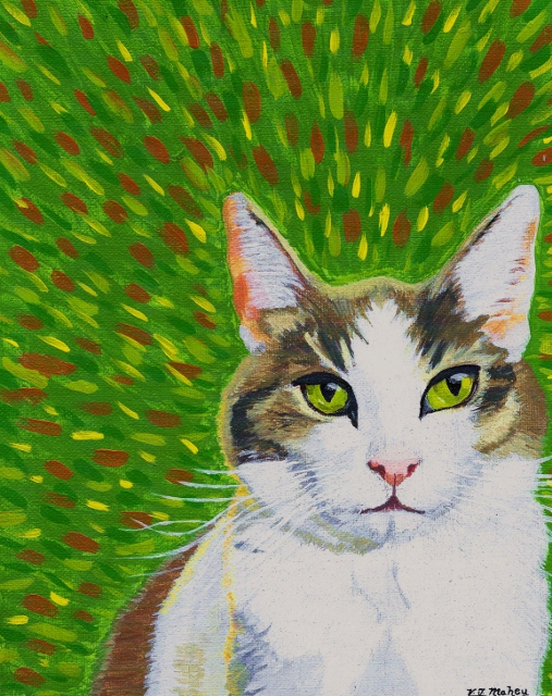 Biz Biz the cat, hand painted pet portrait,