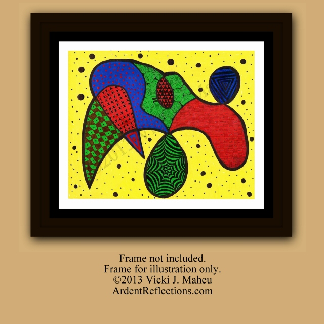 Hippy Decor, Hippy Art, Zentangle art, Zentangle inspired,Kandinsky Inspired,decorative paintings,original painting,art on paper, Item #TO1 Yellow abstract, Kandinsky style art, abstractions, vibrant wall art, bohemian art