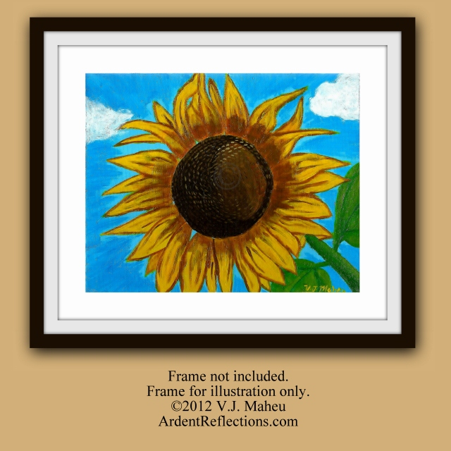 Summer Art, Sunflower painting, botanical, Sunflower art, flowers wall art, cottage art, blue and yellow, art sunflower decor, Item #SO1 impressionistic, country decor, country home decor, original flower art, warm colors