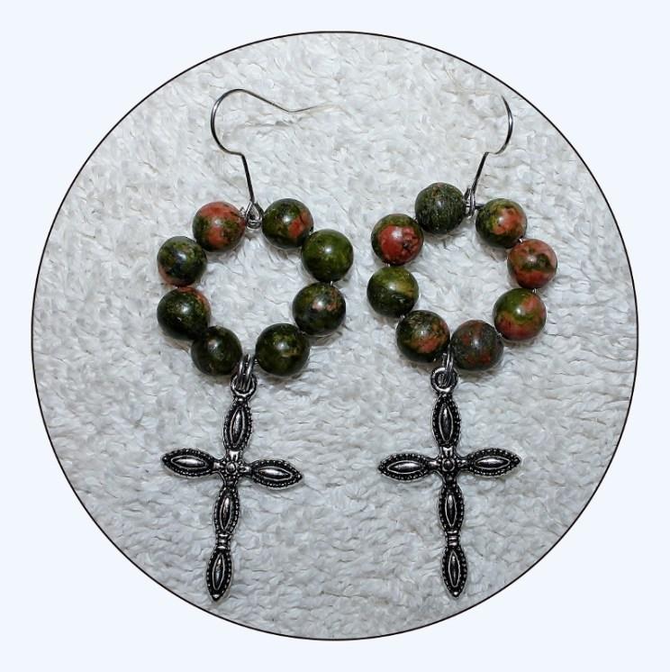 Cross Earrings, Gunmetal Cross, religious jewelry, jasper earrings, beaded earrings, dangle jewelry, cross jewelry,green jasper, Item #JCE01 semiprecious stone, unakite jasper, jasper, Mother's Day gift, Red jasper