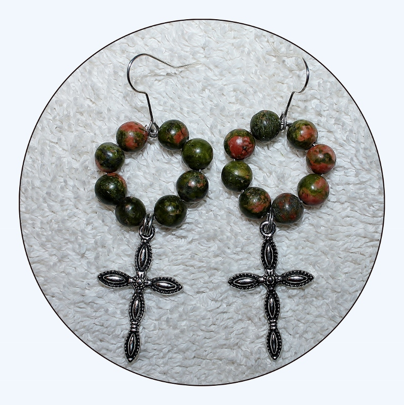 Cross Earrings, Gunmetal Cross, religious jewelry, jasper earrings, beaded earrings, dangle jewelry, cross jewelry,green jasper, Item #JCE01 semiprecious stone, unakite jasper, jasper, Mother's Day gift, Red jasper